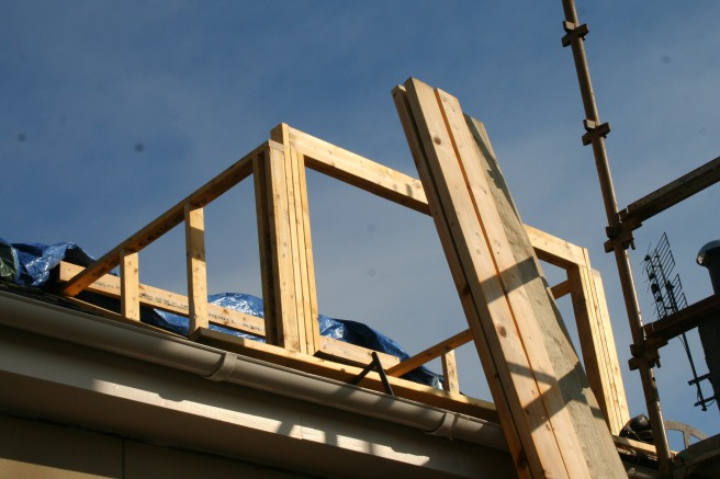 by lunchtime the outline of the new dormer was there