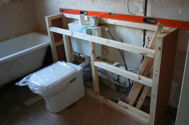 frame for the sink and loo