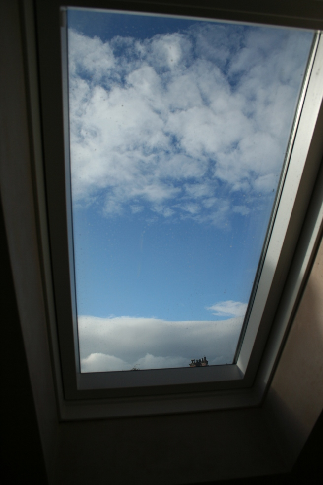 blue skies through the skylight