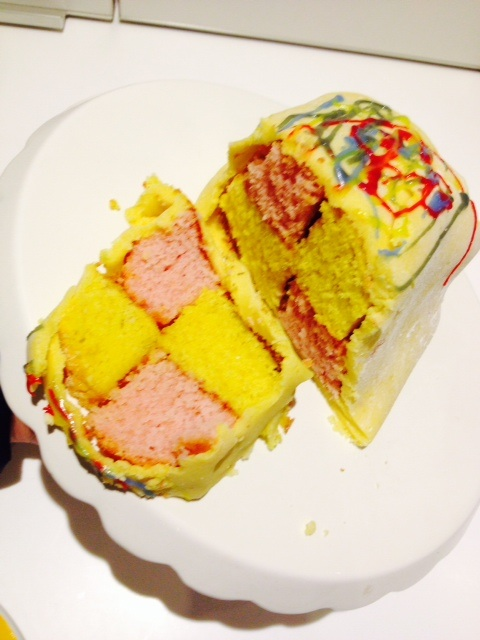 home made battenburg, my favourite, from the kitchen of my niece aged 6