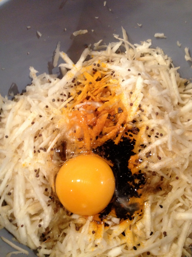 celeriac, egg, spices and hope in the bowl