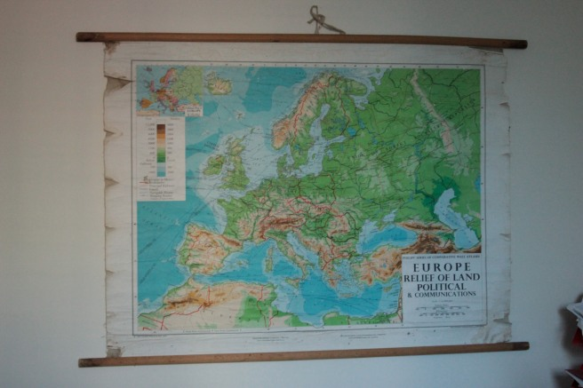 vintage map in teenboy's room from 1970