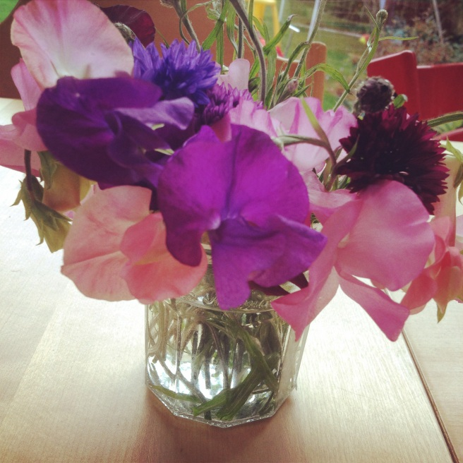 The first harvest of sweet peas and cornflowers